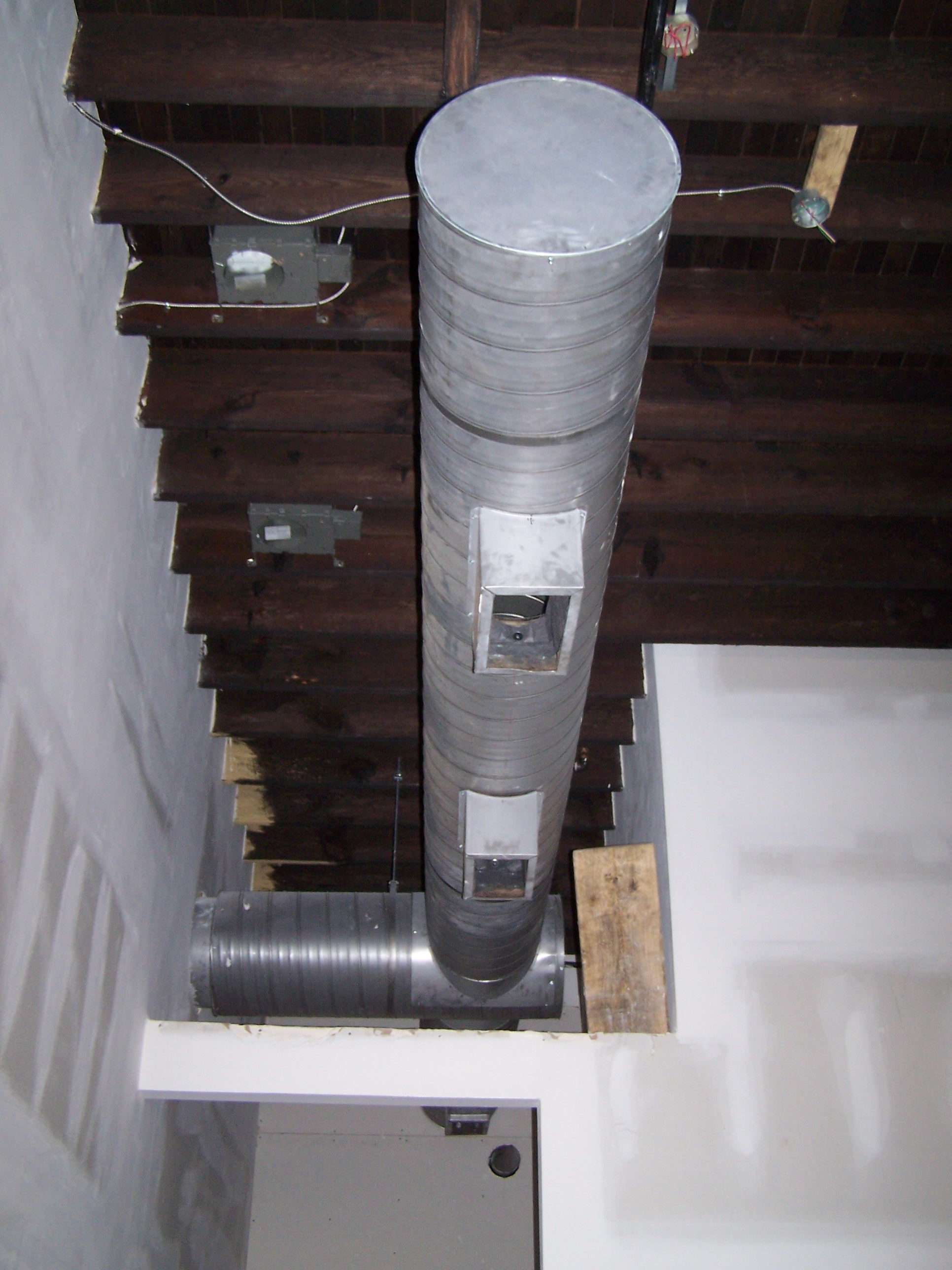 Exposed spiral ductwork